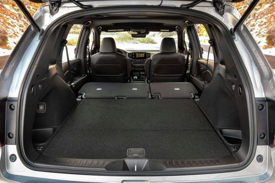 The 2019 Honda Passport opens lots of rear space by flattening the second row (unlike the Pilot, there is no third row).