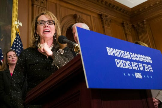 In this Jan. 8, 2019, file photo, former Rep. Gabby Giffords, speaks during a news conference to announce the introduction of bipartisan legislation to expand background checks for sales and transfers of firearms, on Capitol Hill in Washington.