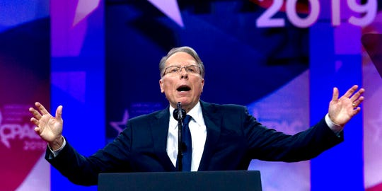 """In this March 2, 2019, file photo, NRA Executive Vice President and CEO Wayne LaPierre speaks at CPAC 2019. A new report by Oregon Sen. Ron Wyden, the top Democrat on the Senate Finance Committee, charges the NRA acted as a """"foreign asset"""" for Russia in the run-up to the 2016 election. The report also said NRA leaders may have violated tax laws that prohibit use of organization resources for personal benefit. The report, based on an 18-month investigation by the finance panel's Democratic staff, found that NRA leaders """"engaged in a years-long effort to facilitate the U.S.-based activities"""" of Russian nationals Maria Butina and Alexander Torshin."""