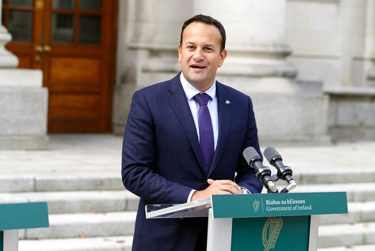 "Irish Prime Minister Leo Varadkar speaks at a press briefing outside government buildings in Dublin, Wednesday, Oct. 2, 2019. Britain has sent its proposals for a Brexit deal to leaders of the European Union, with Prime Minister Boris Johnson urging ""rapid negotiations towards a solution."" The proposals focus on maintaining an open border between the U.K.'s Northern Ireland and EU member Ireland, the key sticking point in getting a Brexit deal finalized."