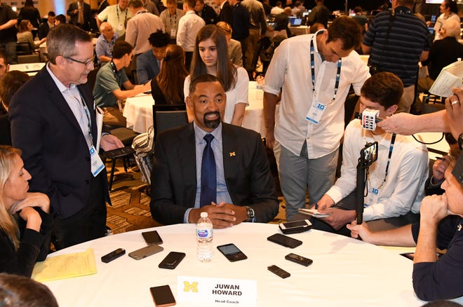 Michigan coach Juwan Howard talks to reporters during the Big Ten media day Wednesday.