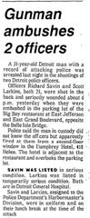 A clip from a Nov. 6, 1978 Detroit News article about the ambush of Detroit police officers Scott Larkins and Richard Savin