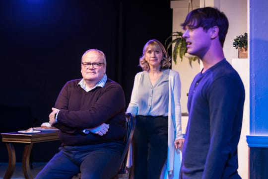 """Admissions"" at Ann Arbor's Theatre Nova features Joe Bailey (left), Diane Hill and Jeremy Kucharek."