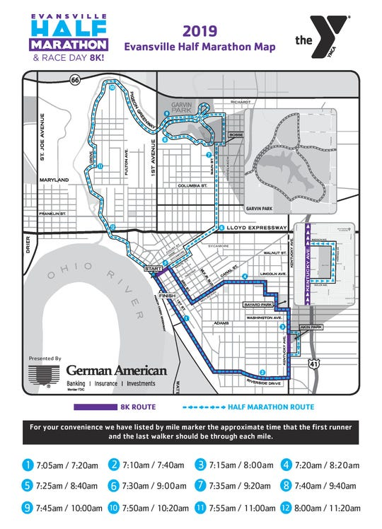 Evansville Half Marathon 2019 race map