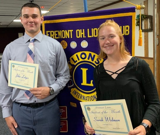 The Fremont Lions Club celebrated the Ross High School September Students of the Month with seniors John Lotycz and Sarah Widman.