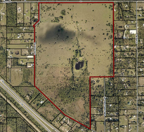 Proposed Leetana project is immediately south of Rich Road in the Bayshore section of North Fort Myers.