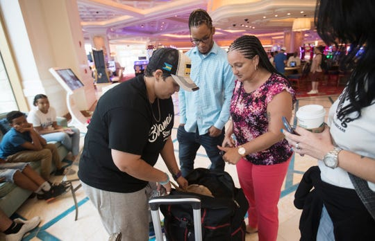 Patricia Amandis, a DJ from Naples goes through donated supplies with Nassau, Bahamas resident Mia Campbell on September 22, 2019, at the Baha Mar resort in Nassau. Amandis gathered supplies and goods from Naples to donate to Campbell and families affected by Hurricane Dorian. Campbell was affected by flooding. She plans on getting some of the supplies Abaco residents affected by the storm.