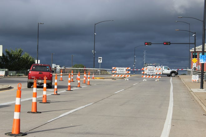 The Ray Nitschke Memorial Bridge is closed Wednesday, Oct. 2, 2019, in downtown Green Bay. The bridge over the Fox River connects Main and Dousman streets.