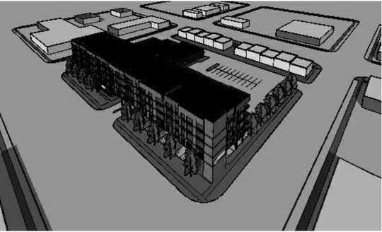 A rendering of the proposed development for the 200 block of Monroe Avenue includes 80 housing units and a 24,000 square foot grocery store.