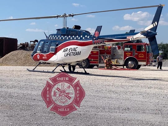 Henderson Materials was the scene of a high-angle rescue Wednesday afternoon. (Oct. 2, 2019).