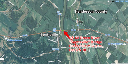 The Kentucky Transportation Cabinet plans a daytime closures on the U.S. 60 Green River Bridge at Spottsville on October 9 & 10, 2019.