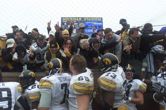 An excited Iowa fan base roared in a quiet sea of 100,000-plus fans on Oct. 26, 2002, after the Hawkeyes trounced Michigan, 34-9.