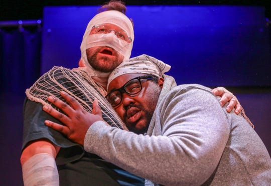 """Actors Bill Wilkison and Daryl Hollonquest Jr. perform during the """"Science Fiction Double Feature"""" dress rehearsal at ComedySportz Indianapolis, Tuesday, Oct. 1, 2019."""