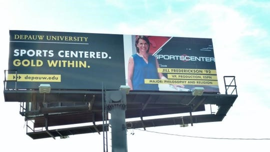 ESPN's Jill Frederickson is featured on two billboards in Indianapolis to showcase DePauw. Frederickson is an Indianapolis native who rose to vice president at ESPN.