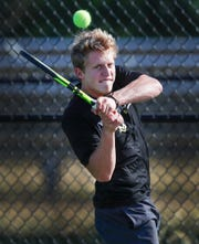 Mt. Vernon boys No. 1 tennis player Haiden Rose during a recent practice at HSE Intermediate.
