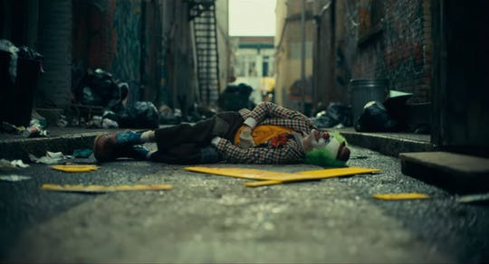 An image from 'Joker' a 2019 film directed by  Todd Phillips and staring Joaquin Phoenix.
