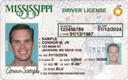 This photo illustration shows a sample of a Mississippi driver's license with the REAL ID star emblem in the upper-right corner.