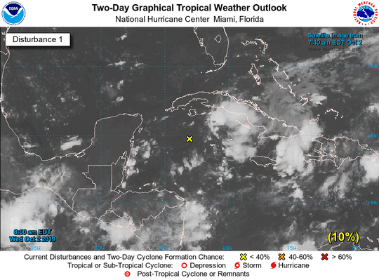 Tropical disturbance in the Caribbean Sea Oct. 2.