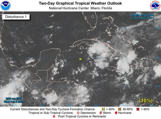 Tropical disturbance in the Caribbean Sea Oct. 2.