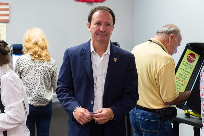 Jeff  Landry exiting the voting booth at the Registrar of Voters office for Early Voting in Lafayette, LA.  Wednesday, Oct. 2, 2019.
