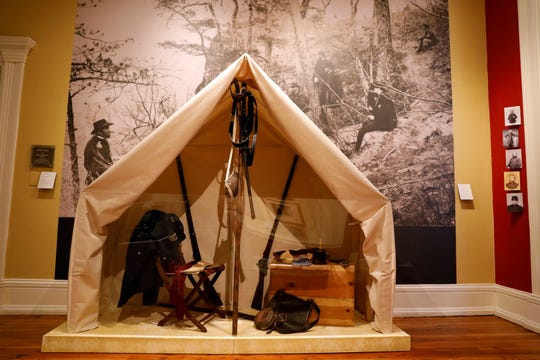 A replica of a Civil War tent is part of the Decorative Arts Center of Ohio's exhibit on eight presidents with connections to Ohio.