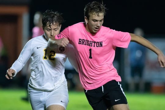 Brighton's Kieman Dunn (1) controls the soccer ball while defended by Hartland's Luka Gjolaj on Tuesday, Oct. 1, 2019.