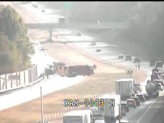 All lanes of I-265 West at Smyrna Parkway in Louisville are closed due a propane-powered garbage truck catching fire about 9:10 a.m. Wednesday, Oct. 2, 2019.