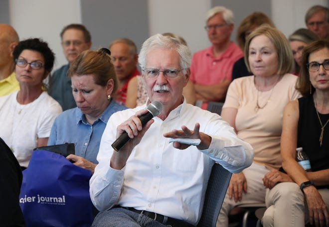 Bob Manning made a comment during the Courier Journal's On Kentucky Politics event held at the Northeast Regional branch of the Louisville Free Public Library on Oct. 2, 2019 in Louisville, Ky.