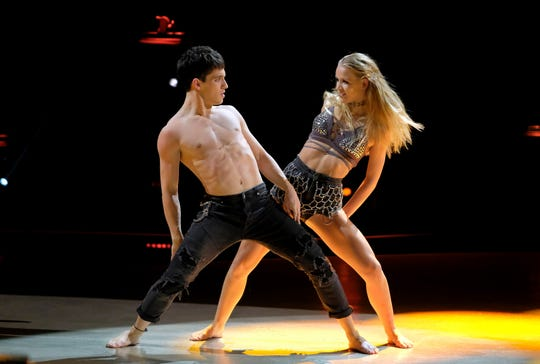 "Top 4 contestants Sophie Pittman and Gino Cosculleuela perform a jazz routine to ""All Nite (Don't Stop)"" on ""So You Think You Can Dance."""
