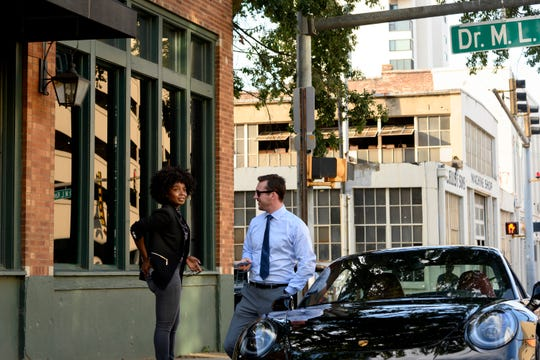"A scene from ""Bluff City Law,"" the NBC legal drama that filmed in Memphis. The building to the left at Front Street and Martin Luther King Boulevard will soon house two eateries and a speakeasy-style bar."