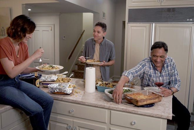 """""""25 Years To Life"""" Episode 103: Caitlin McGee as Sydney Strait, Stony Blyden as Emerson Howe and Jimmy Smits as Elijah Strait"""