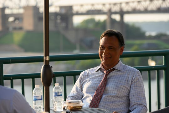 Jimmy Smits enjoys lunch at a fictional restaurant patio that producers created behind the University of Memphis Law School.