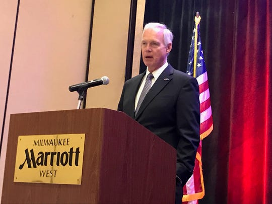 Republican U.S. Sen. Ron Johnson speaks at a meeting of the Pewaukee Chamber of Commerce on Wednesday, Oct. 2, 2019.