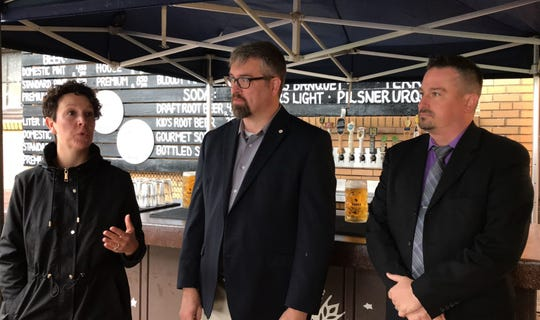 From left, Milwaukee County supervisors Marina Dimitrijevic and Jason Haas and County Parks Director Guy Smith announce that the county's 2020 recommended budget includes funds to plan and design an expanded South Shore Terrace beer garden. They made the announcement in the current beer garden, 2900 S. Shore Drive, on Wednesday, Oct. 2, 2019.