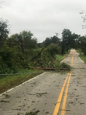 This photo, taken by a We Energies crew, shows damage to trees, power poles and power lines in Waukesha County.