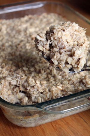 Banana Baked Oatmeal is all the sweeter for the use of super-black overripe bananas.