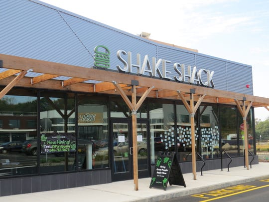 The standalone Shake Shack under construction at the new Waterview Marketplace on Route 46 West. Some stores opened in August. Whole Foods will open the center's anchor store on Nov. 6. Oct. 2, 2019.