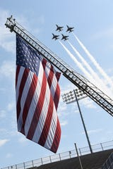 "The U.S. Air Force Thunderbirds perform a fly-over of the Cramton Bowl stadium during the Officer Training School parade and graduation of ""Godzilla"" class 19-07 Sept. 27, 2019, Montgomery, Alabama. Due to the sheer size of class 19-07, this was the first appearance the U.S. Air Force Thunderbirds have made at an Officer Training School graduation."
