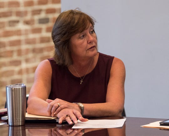 Board President and LEAD Founder Charlotte Meadows speaks during a board meeting at LEAD Academy in Montgomery, Ala., on Wednesday, Oct. 2, 2019.