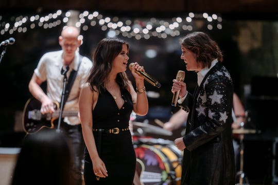 Maren Morris and Brandi Carlile of The Highwomen perform at RCA Studio A in Nashville, Tenn., October 1, 2019.