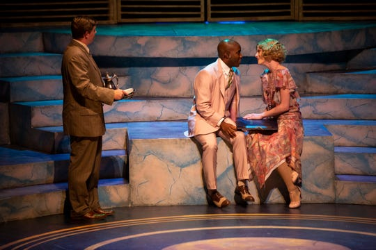 From left to right, Nathan Eichhorn, Bodio Popoola, and Sydney Mixon act out a scene during a performance of The Great Gatsby at Sugden Community Theatre in Naples on Tuesday, October 1, 2019.