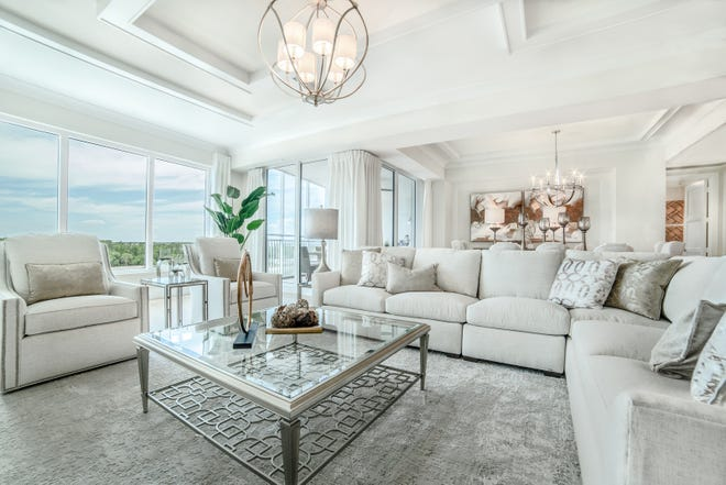 The Seaglass 402 residence, with design created by Baer's Furniture's Janet Graham, is one of six completed furnished move-in ready residences now available at Seaglass.