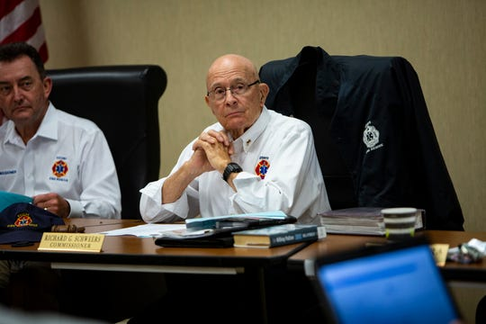Dick Schweers chairs an Estero Fire Rescue Commission meeting, Tuesday, Sept. 25, 2019, in Estero.
