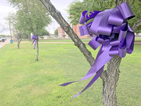 Purple ribbons adorn Deming, NM in recognition of October as National Domestic Violence Awareness Month.