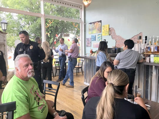 Chief Alex Valdespino and the Deming Police Department hosted the annual Coffee with a Cop on Wednesday at the Copper Kettle Coffee Shop located at the corner of Spruce and Gold streets in downtown Deming, NM. The event is held annually to build better relations between local law enforcement and the community. Wednesday's gathering was well attended. Deming police served coffee and pastries with the cooperation of the Copper Kettle staff. Also in attendance were members of the Luna County Sheriff's Office.