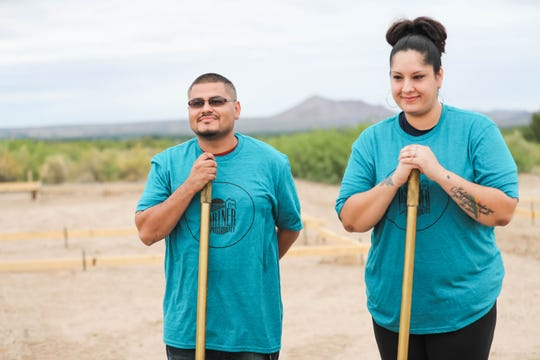 The Ramírez family breaks ground on their new home at an event for a Habitat for Humanity groundbreaking at a house site in Las Cruces on Tuesday, Oct. 1, 2019.