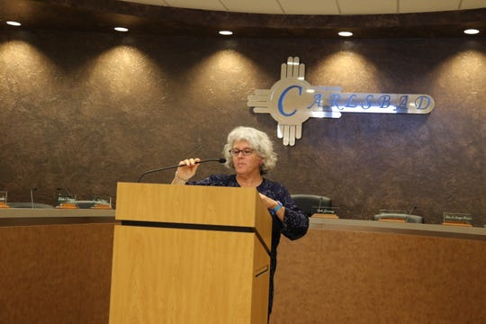 Jackie Fishman of Consensus Planning from Albuquerque offers points on the City of Carlsbad's Comprehensive Plan Oct. 1.