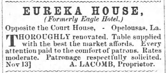 Advertisement for the Eureka House, with Austin Lacombe as proprietor, in the Opelousas Courier on December 11, 1865.