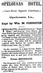 Advertisement for the Opelousas Hotel, owned by William M. Johnson, from the St. Landry Democrat on October 9, 1869.