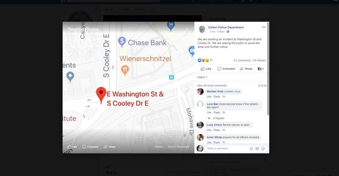Colton police Facebook post on Chase Bank robbery Tuesday night.